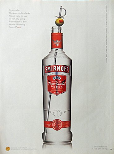 (Smirnoff Vodka, Print Ad. Full Page Color Illustration (triple distilled vodka) original Magazine Art )