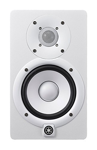 Yamaha HS Series HS5 2 way Powered Bass Reflex Bi-amplified Nearfield Yamaha studio Monitors White (Pair) with Strukture Microphone Cables and Studio Monitors Stands in Pair