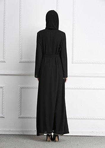 GLADTHINK Damen Lange Art Muslim Plus Größe Maxi Kleid Mit Schärpe ...