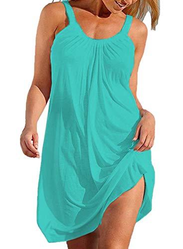 (BLUETIME Womens Beach Bathing Suit Swim Bikini Swimsuit Cover up Dresses (Teal, XXL))