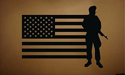 """Military Soldier Army Men Vinyl Wall Decal Sticker with American Flag 21"""" x 29"""" home decor"""