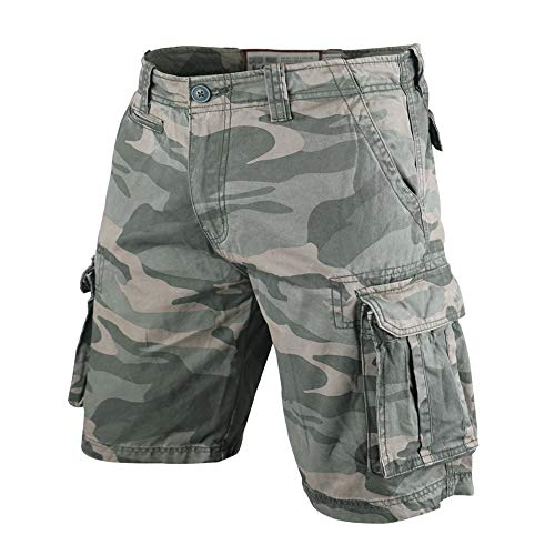 Men's Vintage Cargo Shorts Relaxed Fit Camouflage 100% Heavy Cotton