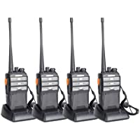 BAOFENG BF-888s Upgraded Two Way Radio BF-230 Pro Handheld Walkie Talkie Transiver 3.7v/1500mAh/400-470MHz US Plug Headphone With Rechargeable Battery(Pack of 4)