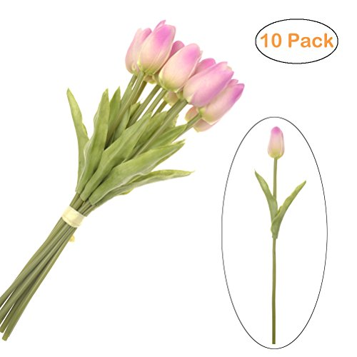(SunshineTrees 10pcs Artificial Tulips Flowers Arrangement Bouquet Single Stem Real PU Touched for Home Office Wedding Parties)