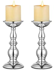 Nuptio Silver Pillar Candle Holders, Wedding Centerpieces Metal Candle Holder for 3.15in Candles Stand Decoration Ideal for Weddings Special Events Parties Living Room, 2 Pcs