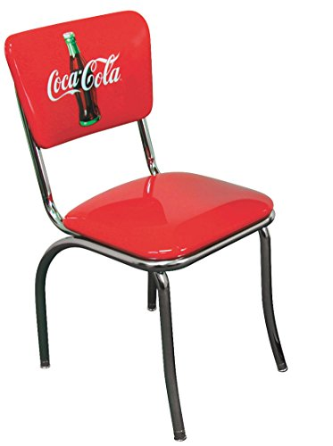 Vitro Seating Products 921Cbb Coca Cola 2 Bullseye Chrome Diner Chair Set  Red And White  Pack Of 2