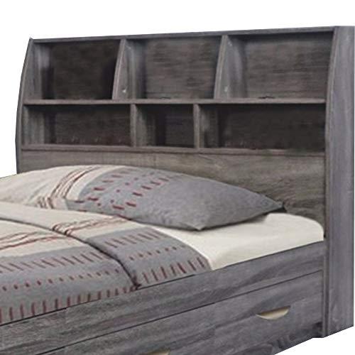 Benzara Contemporary Style Gray Finish Twin Size Bookcase Six Shelves Headboard from Benzara