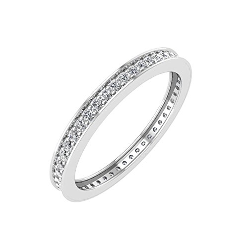 ite Gold Pave Set Diamond Eternity Wedding/Anniversary Band Ring (1/4 Carat) (10k Gold Pave Set)