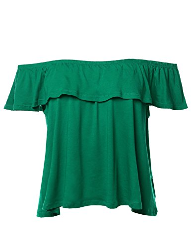 Casual Solid Off-Shoulder Ruffle Top Kelly Green L
