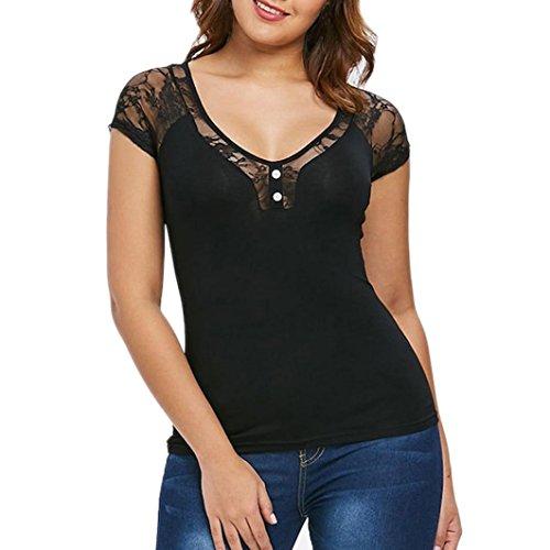 VIASA Fashion Womens Casual Sexy Fashion Botton V-Neck Short Sleeve Lace T-Shirt Tops Blouse (S, Black)