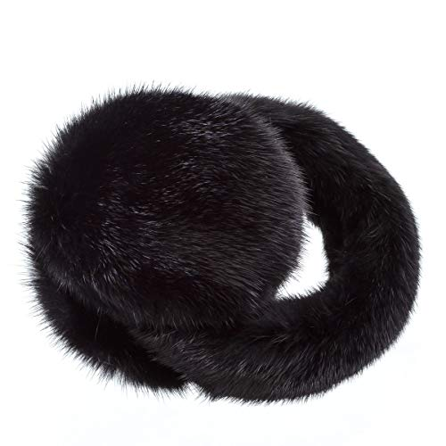 Surell Mink Earmuff with Fur Halo Band - Winter Ear Muffs - Cold Weather Fashion (Black)