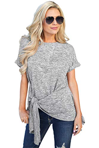 UGET Short Sleeve Roune Neck Irregular T-Shirt Tie Side Knot Tunic Tops Gray Asia L ()