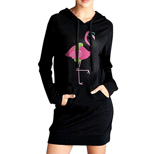 (Flamingo Clipart Border Women's Long Sleeve Hooded Sweater with Pocket Hoodies Dress Black)