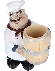Toothpick Holder Resin Chef Statue Nordic Figurine Restaurant Tabletop Toothpicks Case Organizer Storage Decoration Craft