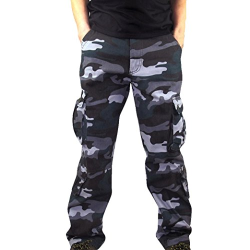 Tech Scrub Pajama Pants - 2018 Men Camouflage Pocket Overalls Casual Pocket Sport Work Casual Trouser Pants(Blue, 42)