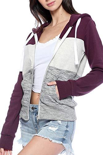 Urban Look Womens Active Long Sleeve Fleece Zip Up Hoodie (X-Large, C1 Plum)