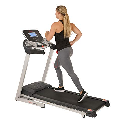 Sunny Health & Fitness Energy Flex Electric Treadmill with Bluetooth Connectivity, Automatic Incline, Speakers and 16 Preloaded Programs – SF-T7724