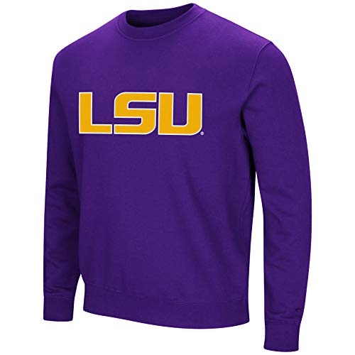 Colosseum NCAA Men's -Playbook- Crewneck Fleece Sweatshirt with Tackle Twill Embroidered Lettering-LSU Tigers-Purple-Large
