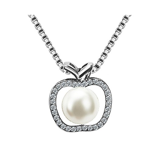 BAEBAE Sterling Silver Plated Cubic Zirconia Imitation Pearls Apple Charm Pendant Necklace,Box chain 18''