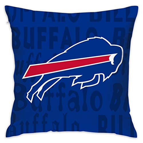 Gdcover Custom Colorful Buffalo Bills Pillow Covers Standard Size Throw Pillow Cases Decorative Cotton Pillowcase Protecter Zipper - 18x18 Inches ()