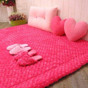 Korean Style Romantic Rose Rug Cute Rug For Bedroom Rose Color Carpet Flower  Rose Shaped Rug