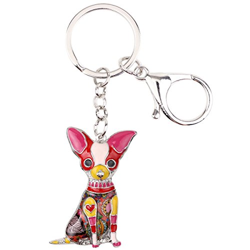 Bonsny Enamel Alloy Chain Chihuahua Key Chains For Women Jewelry Car Purse Handbag Charms (Red) ()