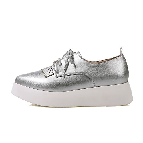 Closed Shoes Pumps Pointed Toe Low Silver up WeiPoot Women's Heels Solid Lace Z006wv