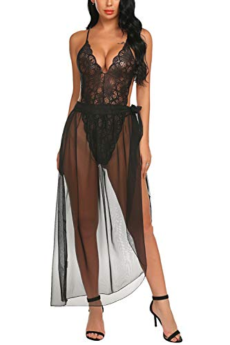 (Avidlove Women Lingerie Sexy Nightgown 2 Pieces Set Lace Teddy Sheer Wrap Skirt Black Large)