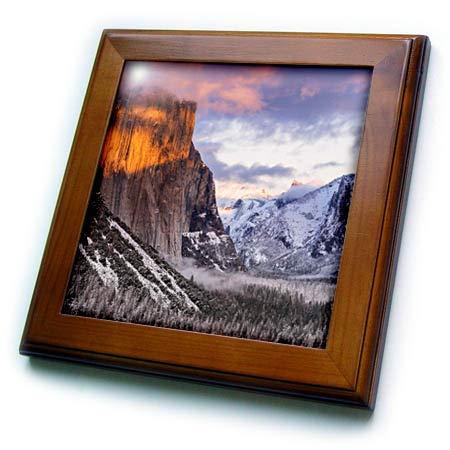 3dRose Danita Delimont - California - Winter Sunset Over Yosemite Valley from Tunnel View, California, USA - 8x8 Framed Tile (ft_314709_1) ()