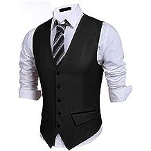 PEATAO Men's Suit Vest, V Neck 5 Button Slim Formal Business Casual Waistcoat