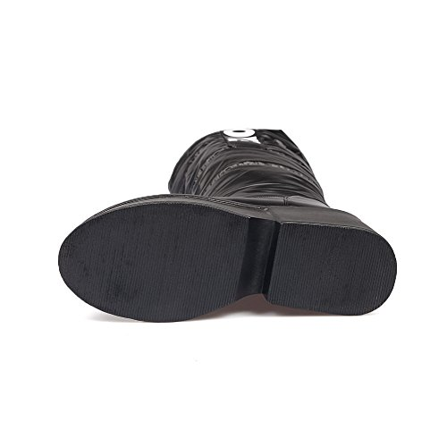 AgooLar Damen Rein Blend-Materialien Hoher Absatz Ziehen auf Rund Zehe Stiefel Schwarz