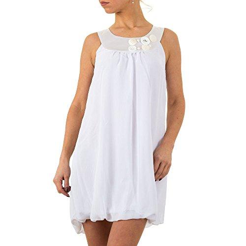 Volant Kleid Für Damen bei Ital-Design Weiß lkPldrOQln