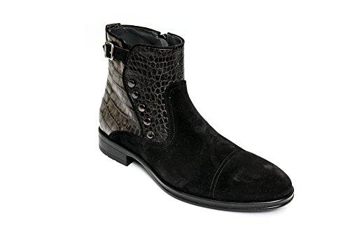 Giovanni Conti 3338-01 Menns Svart Semsket & Khali Krokodille Print Skinn  Zip Opp Støvlene