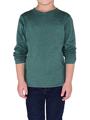 Colored Organics Toddler Boys Organic Eliot Long Sleeve V-Neck Shirt - Heather Forest - 4T