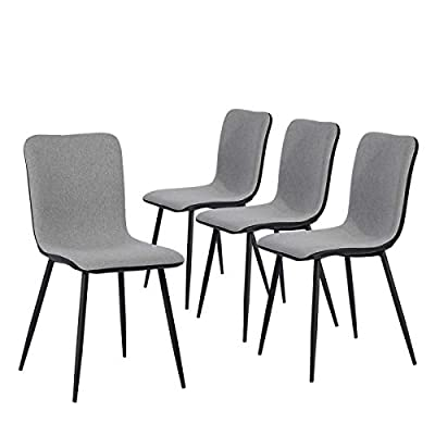 Coavas Dining Chairs Set of 4, Kitchen Chairs with with Fabric Cushion Seat Back, Black Washable PU Back and Metal Legs, Modern Mid Century Living Room Side Chairs - Best Christmas Gifts for Family and Friends. Epic Deals for Black Friday and Cyber Monday! WASHABLE PU FAUX LEATHER🍅🍅🍅---The back of the ergonomic seat shells is made of washable PU faux leather, dyed in stunning and elegant matte black. PU is waterproof and washable. Set of 4 dining room chairs -COMFORTABLE & BREATHABLE - Wear proof thicken padding upholstered chair seat and back, Each bottom leg is equipped with an anti-scratches and anti-noise rubber pad to protect your floor. Set of 4 dining room chairs - STURDINESS & DURABILITY - 4 metal tube with wooden transfer legs, or paint it in a color you prefer. Sturdy X-shaped support to the seat, strong bearing strength, Maximum weight capacity: 250 lbs. - kitchen-dining-room-furniture, kitchen-dining-room, kitchen-dining-room-chairs - 412UrOyrEFL. SS400  -