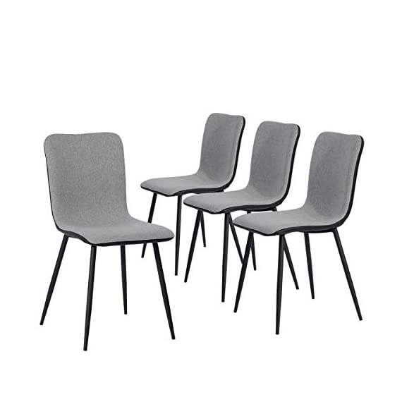 Coavas Dining Chairs Set of 4, Kitchen Chairs with with Fabric Cushion Seat Back, Black Washable PU Back and Metal Legs, Modern Mid Century Living Room Side Chairs - Best Christmas Gifts for Family and Friends. Epic Deals for Black Friday and Cyber Monday! WASHABLE PU FAUX LEATHER🍅🍅🍅---The back of the ergonomic seat shells is made of washable PU faux leather, dyed in stunning and elegant matte black. PU is waterproof and washable. Set of 4 dining room chairs -COMFORTABLE & BREATHABLE - Wear proof thicken padding upholstered chair seat and back, Each bottom leg is equipped with an anti-scratches and anti-noise rubber pad to protect your floor. Set of 4 dining room chairs - STURDINESS & DURABILITY - 4 metal tube with wooden transfer legs, or paint it in a color you prefer. Sturdy X-shaped support to the seat, strong bearing strength, Maximum weight capacity: 250 lbs. - kitchen-dining-room-furniture, kitchen-dining-room, kitchen-dining-room-chairs - 412UrOyrEFL. SS570  -