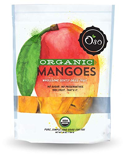 Oso Snacks - Organic Dried Mango Slices - No Added Sugar or Preservatives - Big Pieces Only - 28oz -