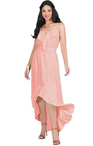 KOH-KOH-Womens-Sexy-Spaghetti-Strap-Strappy-Sleeveless-Halter-Neck-Asymmetrical-Summer-Spring-Stretchy-Flowy-Beach-Party-Casual-Sundress-Midi-Maxi-Dress-Dresses-Light-Pink-Peach-L-12-14