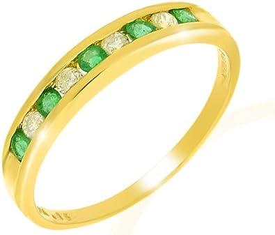 Bague - 108R2496-11/9AM - R - Anillo de mujer de oro amarillo (9k) con esmeraldas y diamantes