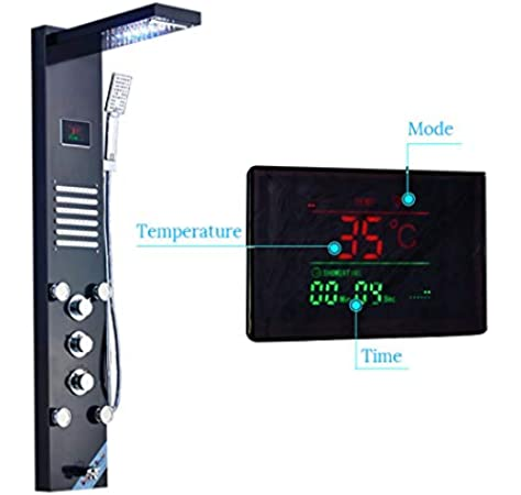 Juego de ducha, sistema de ducha LED multifunción, pantalla táctil digital inteligente, grifo de baño, grifo de ducha de baño, sistema de masaje, ducha en cascada, agrega comodidad a su ducha: Amazon.es: