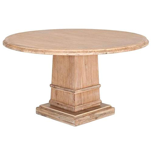 Rustic 54'' Round Meeting Table in Stone-Washed Acacia