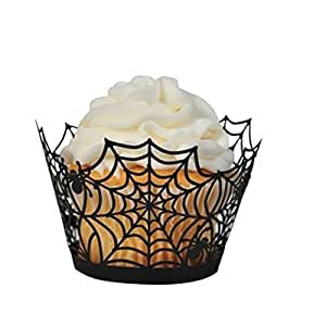 1 X Pack of 24 Black Spiderweb Laser Cut Cupcake Wrappers Wraps Liners Wedding Birthday Party Halloween Cake Decoration