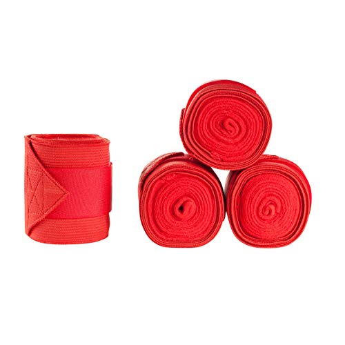 (Horze Fleece Elastic Combo Xtra Support Polo Wraps -Lipstick Red)