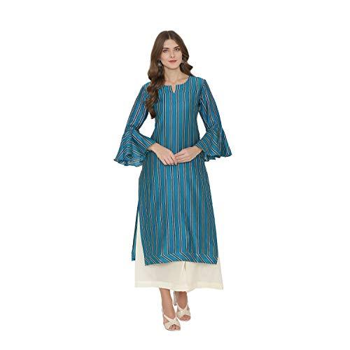 PinkShink Blue Striped Chanderi Silk Women's Kurta kps304 (M)