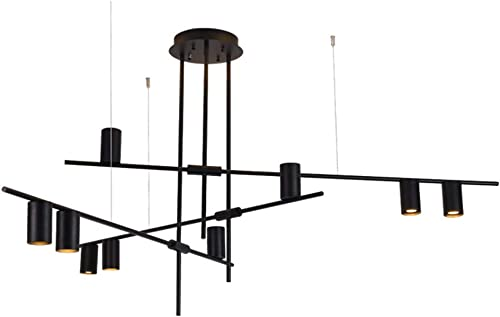 BOKT Contemporary Minimalist 4-Light Kitchen Island Pendant, Modern Chandelier Pendant Light, Geometric Modern Linear Chandelier Lighting Fixture with Led Bulbs Black Black Shade, 9 Heads