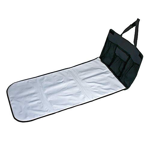 J.L. Childress Pockets 'N Pad, Portable Diapering Station for Your Vehicle, Detachable Changing Pad, Pocket Panel for Storage, Fully Padded, X-Large Dimensions (36″ x 18″), Black