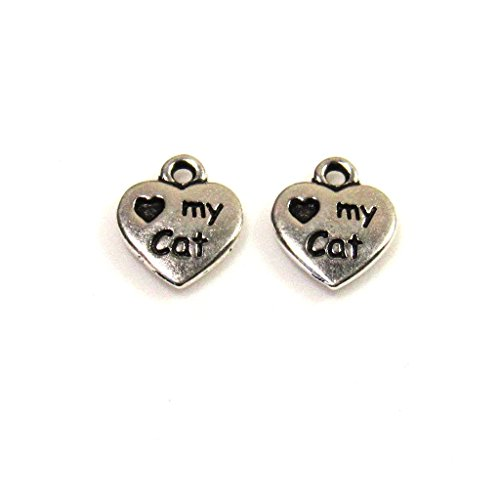 10mm 2-Sided Silver Plated Pewter Heart My Cat Charm - I Love My Cat Charm