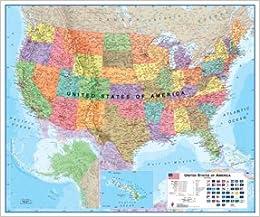 Usa Political Map 2018 Amazon Co Uk 9781904892366 Books