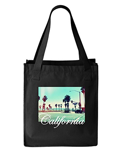 California Cali Sun Beach Canvas Tote Bag, Organic Cotton, - Shopping Hollywood Boulevard