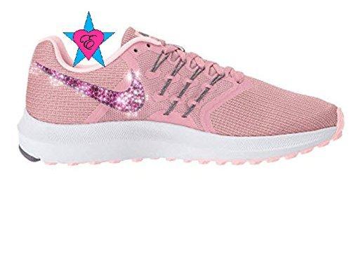 Women Rhinestone Crystal Rose Pink Nike Run Swift